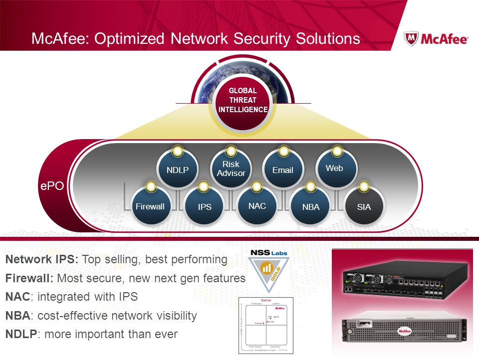 Confidential McAfee Internal Use Only McAfee: Optimized Network Security Solutions GLOBAL THREAT INTELLIGENCE ePO NBA Web IPSSIA NDLP Risk Advisor Ema