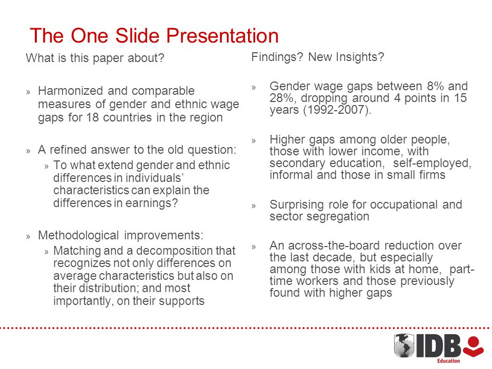 The One Slide Presentation What is this paper about.