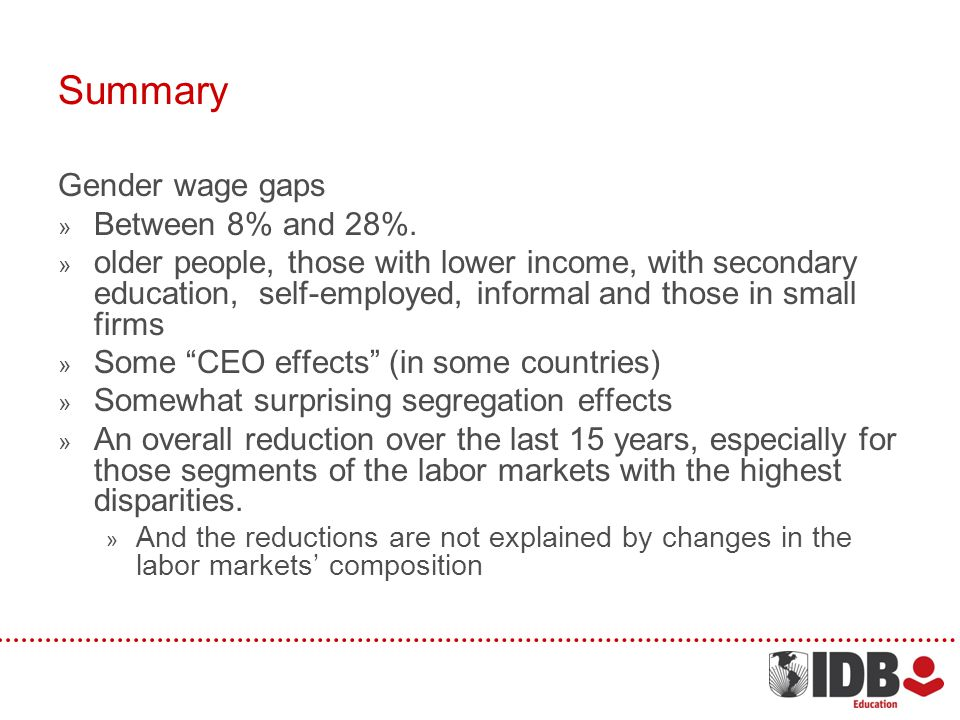 Summary Gender wage gaps Between 8% and 28%.