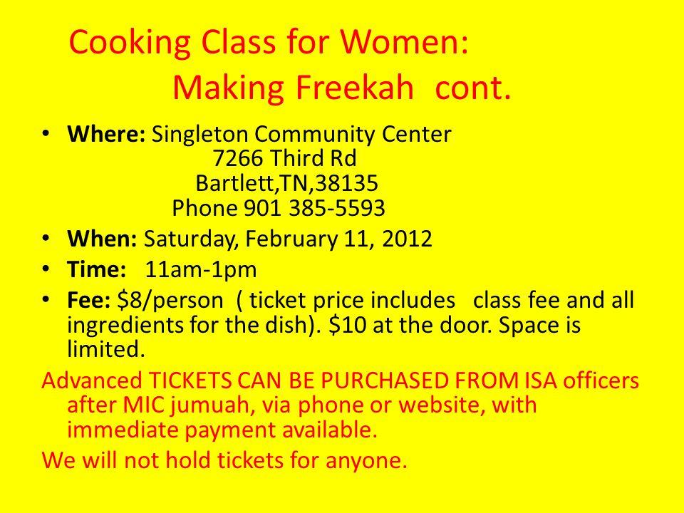 Cooking Class for Women: Making Freekah cont.