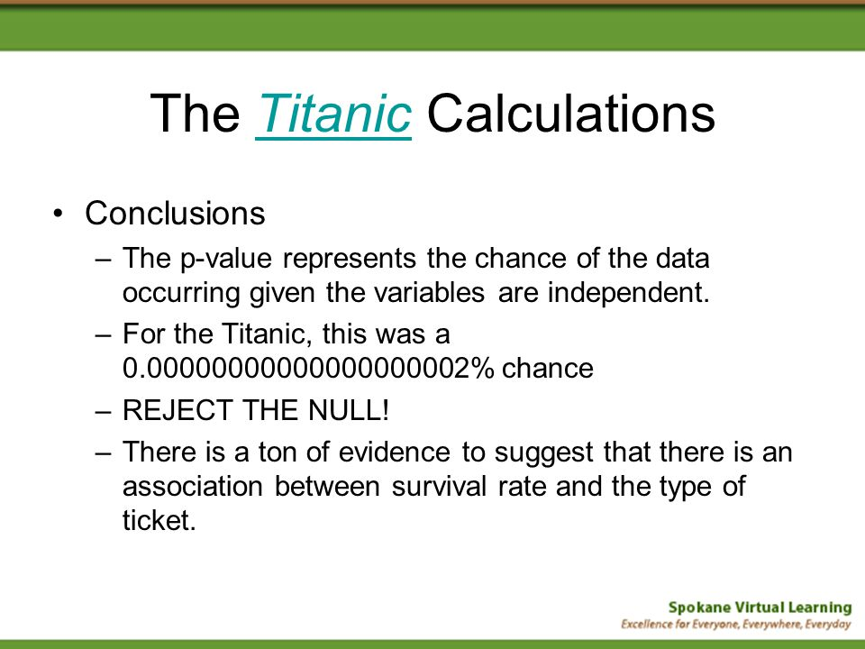 The Titanic CalculationsTitanic Conclusions –The p-value represents the chance of the data occurring given the variables are independent.