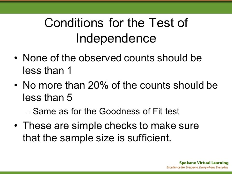 Conditions for the Test of Independence None of the observed counts should be less than 1 No more than 20% of the counts should be less than 5 –Same as for the Goodness of Fit test These are simple checks to make sure that the sample size is sufficient.