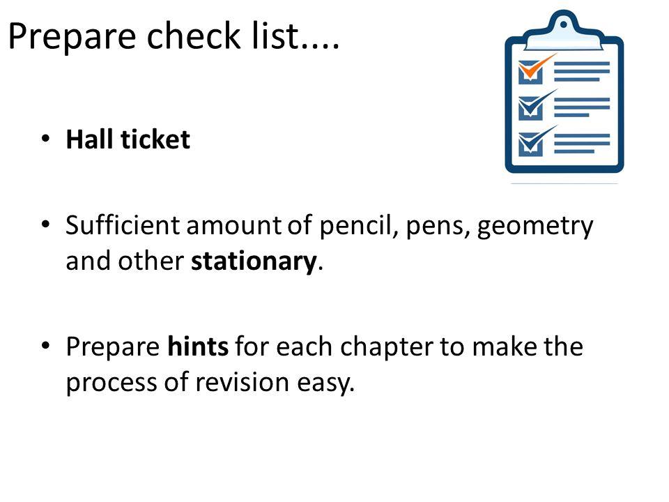 Prepare check list....