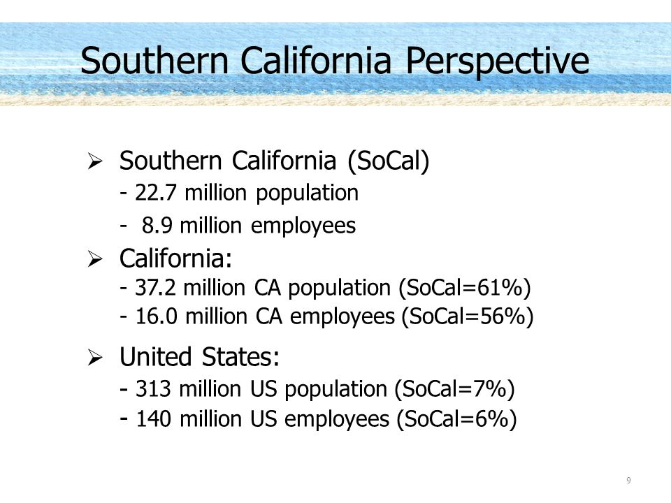 Southern California (SoCal) - 22.7 million population - 8.9 million employees California: - 37.2 million CA population (SoCal=61%) - 16.0 million CA employees (SoCal=56%) United States: - 313 million US population (SoCal=7%) - 140 million US employees (SoCal=6%) 9