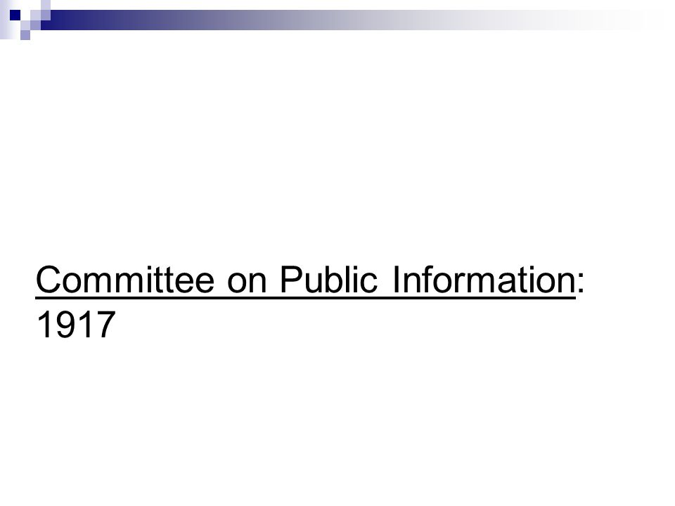 Committee on Public Information: 1917