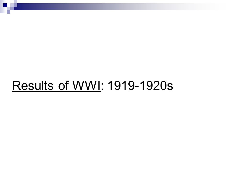 Results of WWI: s