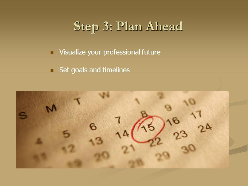 Step 3: Plan Ahead Visualize your professional future Set goals and timelines