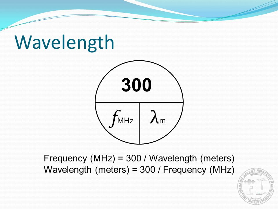 Wavelength 300 f MHz λmλm Frequency (MHz) = 300 / Wavelength (meters) Wavelength (meters) = 300 / Frequency (MHz)