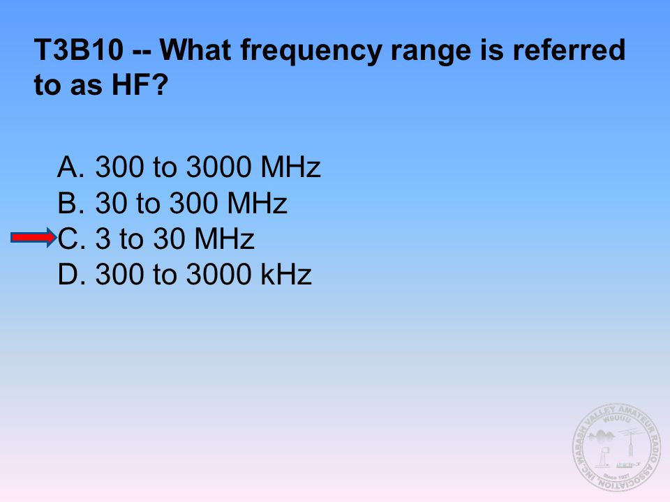 T3B10 -- What frequency range is referred to as HF? A.300 to 3000 MHz B.30 to 300 MHz C.3 to 30 MHz D.300 to 3000 kHz