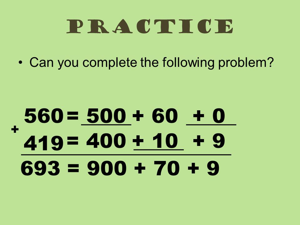 Practice Can you complete the following problem.