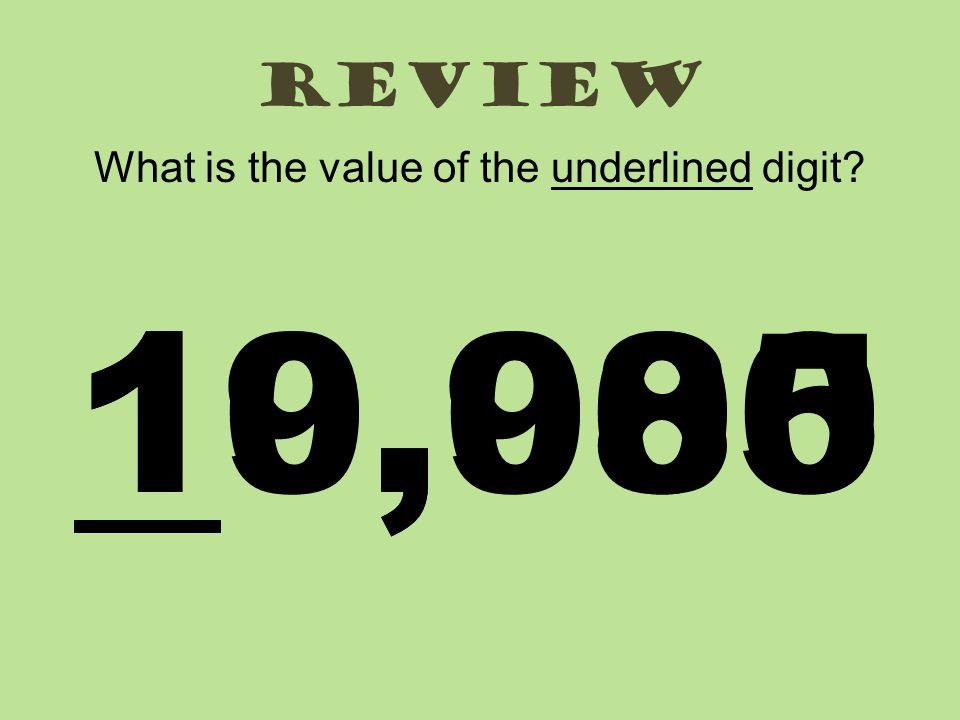 review What is the value of the underlined digit? 19,98510,000