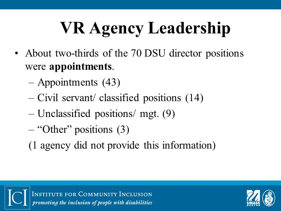 VR Agency Leadership About two-thirds of the 70 DSU director positions were appointments.