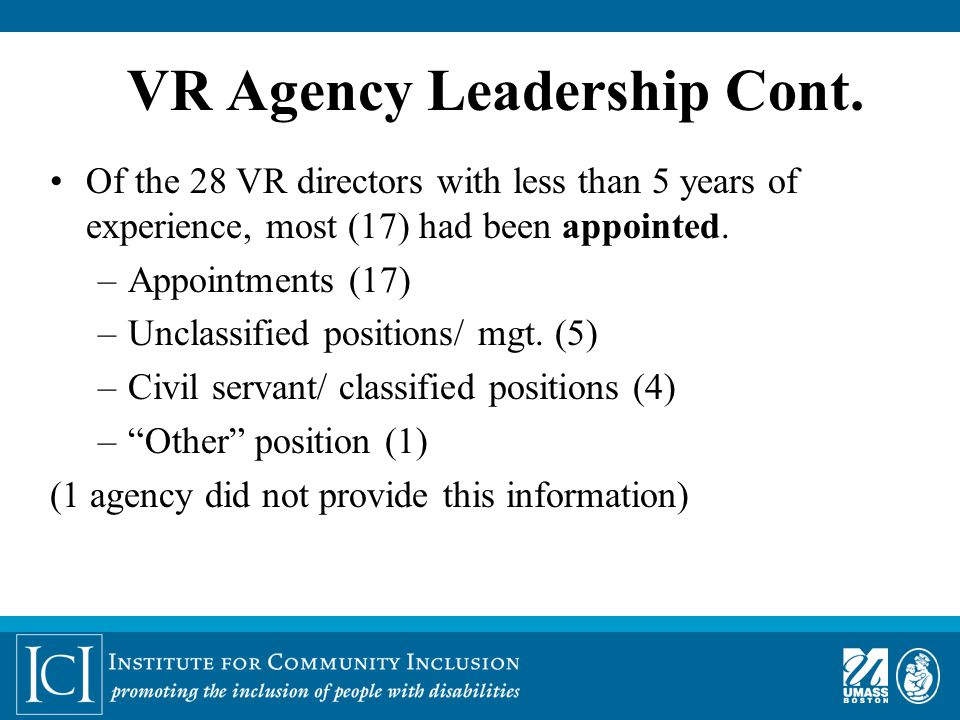 VR Agency Leadership Cont.
