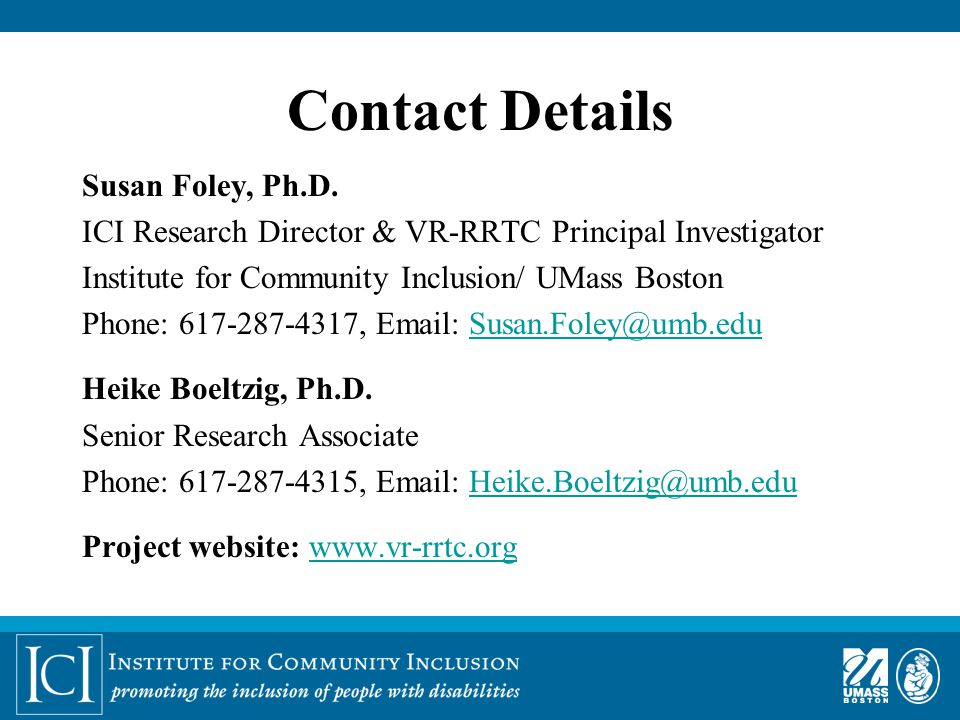 Contact Details Susan Foley, Ph.D.