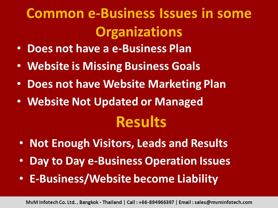 Common e-Business Issues in some Organizations Does not have a e-Business Plan Website is Missing Business Goals Does not have Website Marketing Plan Website Not Updated or Managed MvM Infotech Co.