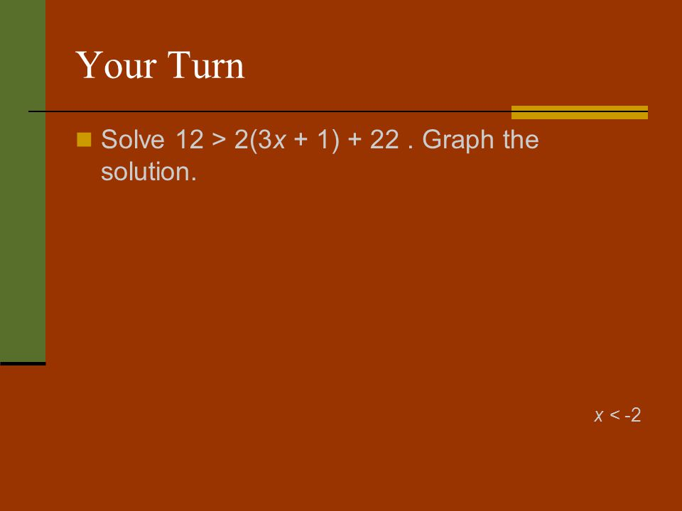 Your Turn Solve 12 > 2(3x + 1) + 22. Graph the solution. x < -2
