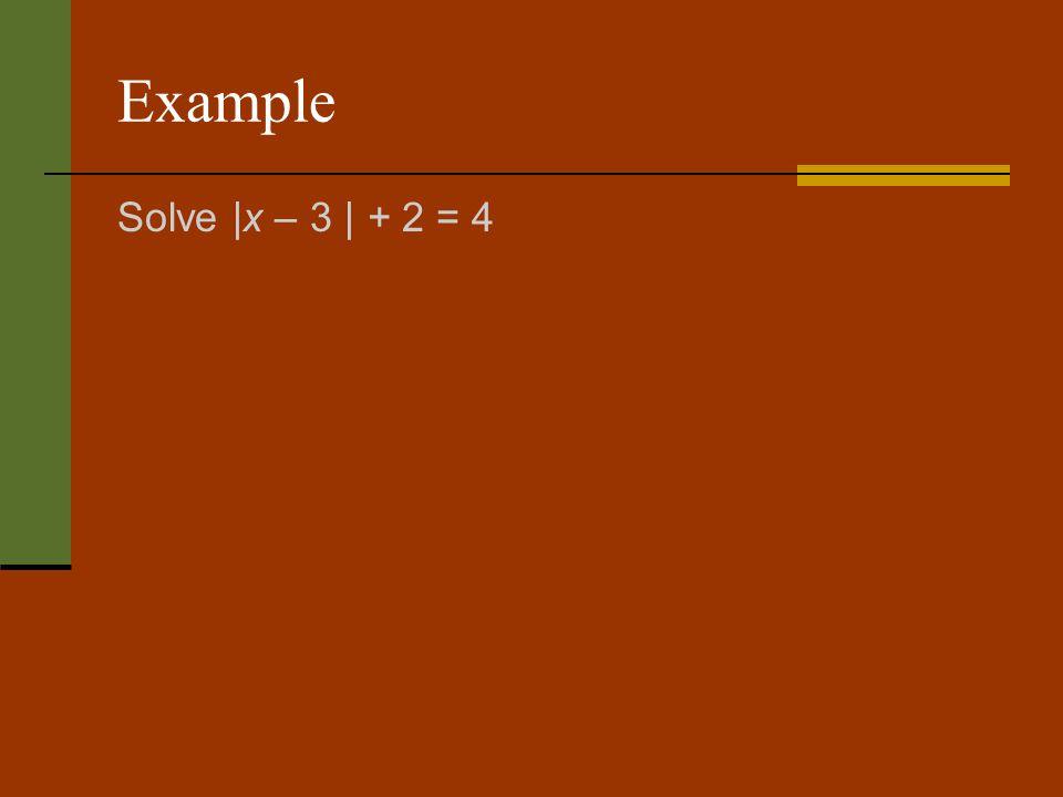 Example Solve |x – 3 | + 2 = 4