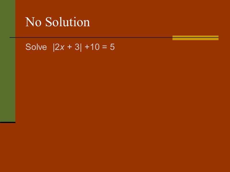 No Solution Solve |2x + 3| +10 = 5