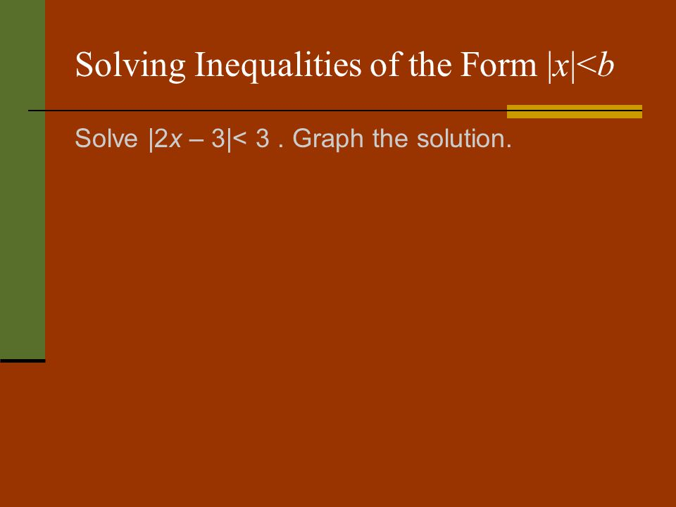 Solving Inequalities of the Form |x|<b Solve |2x – 3|< 3. Graph the solution.