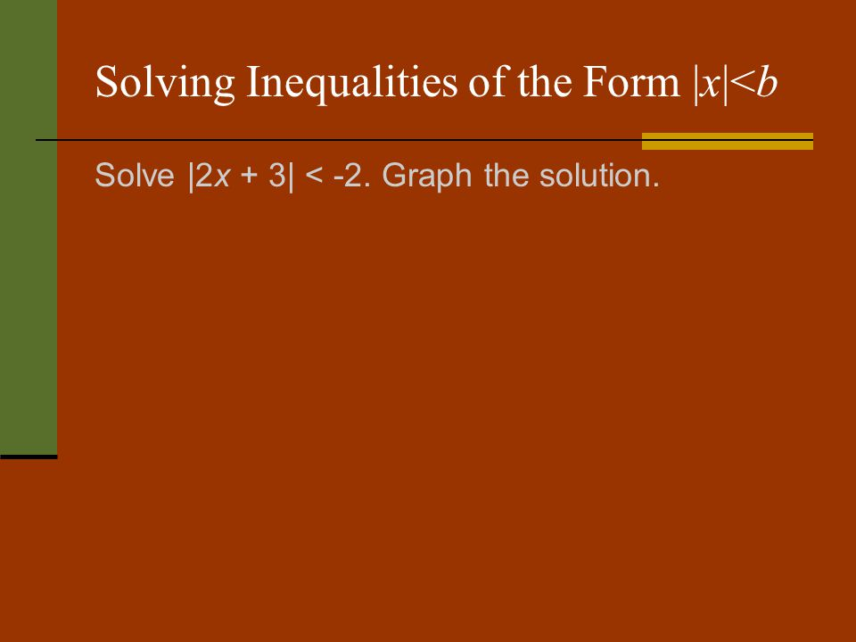 Solving Inequalities of the Form |x|<b Solve |2x + 3| < -2. Graph the solution.