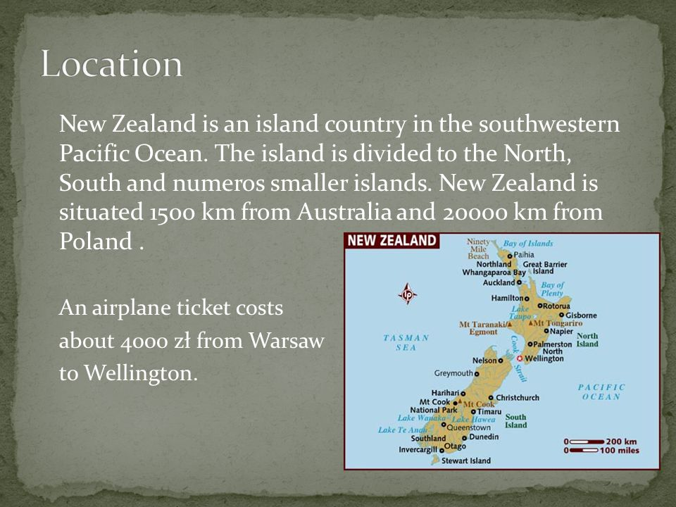New Zealand is an island country in the southwestern Pacific Ocean. The island is divided to the North, South and numeros smaller islands. New Zealand