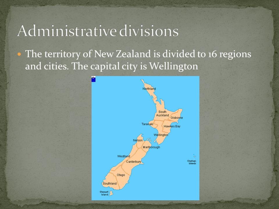 The territory of New Zealand is divided to 16 regions and cities. The capital city is Wellington