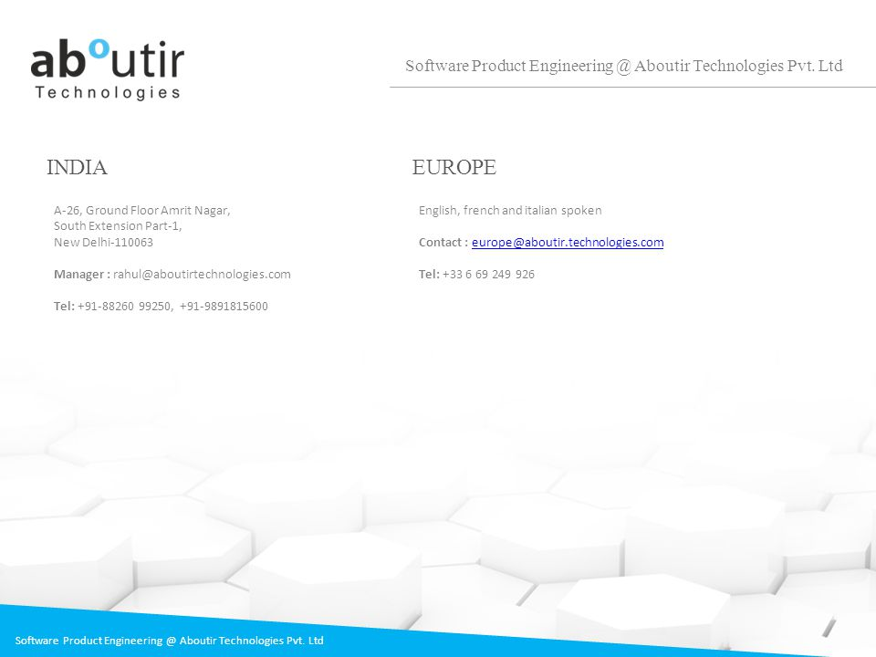 Software Product Engineering @ Aboutir Technologies Pvt. Ltd INDIA A-26, Ground Floor Amrit Nagar, South Extension Part-1, New Delhi-110063 Manager :