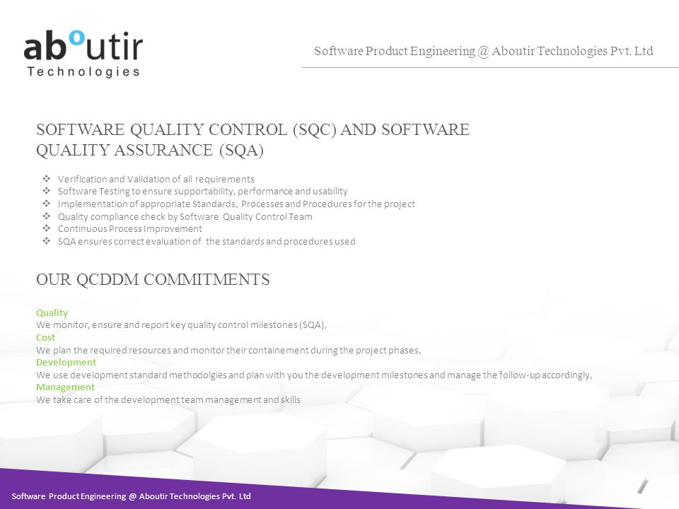 SOFTWARE QUALITY CONTROL (SQC) AND SOFTWARE QUALITY ASSURANCE (SQA) Software Product Aboutir Technologies Pvt.