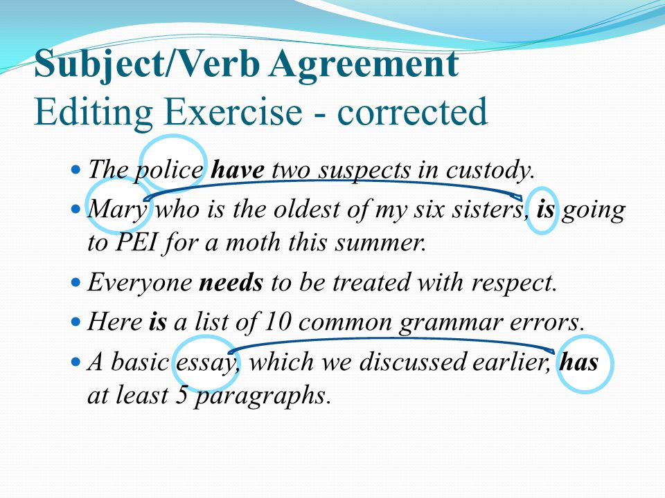 Subject/Verb Agreement Editing Exercise - corrected The police have two suspects in custody.