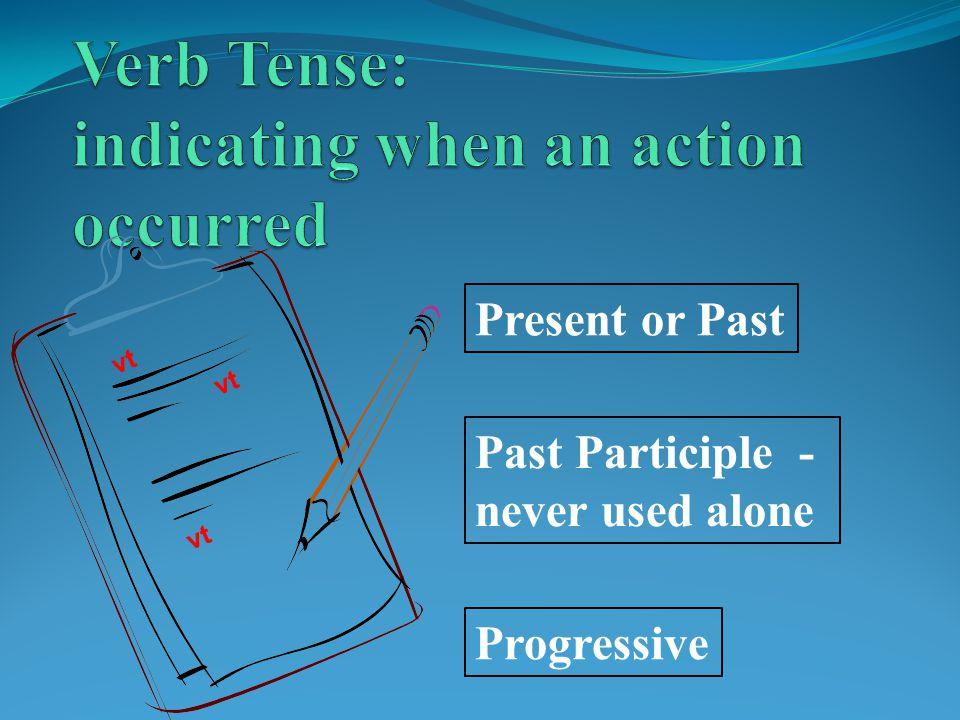 vt Present or Past Past Participle - never used alone vt Progressive vt