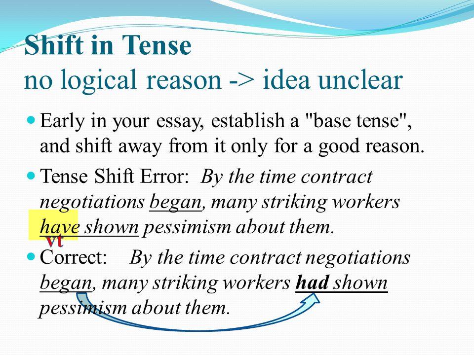 Shift in Tense no logical reason -> idea unclear Early in your essay, establish a base tense , and shift away from it only for a good reason.