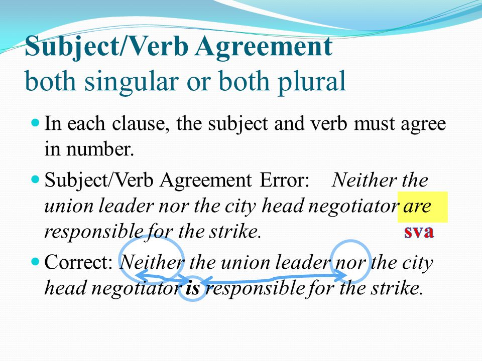 Subject/Verb Agreement both singular or both plural In each clause, the subject and verb must agree in number.