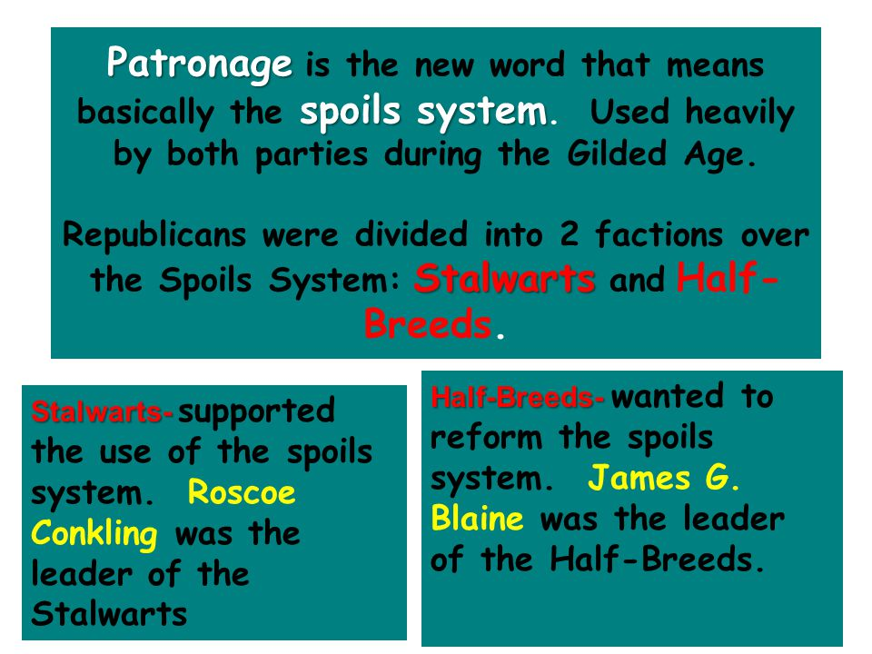 Patronage spoils system Patronage is the new word that means basically the spoils system. Used heavily by both parties during the Gilded Age. Stalwart