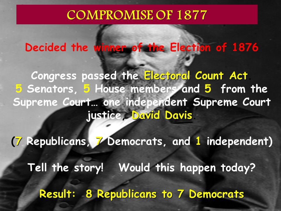 Decided the winner of the Election of 1876 Electoral Count Act Congress passed the Electoral Count Act. David Davis 5 Senators, 5 House members and 5