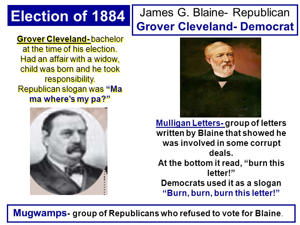 James G. Blaine- Republican Grover Cleveland- Democrat Election of 1884 Mulligan Letters- group of letters written by Blaine that showed he was involv