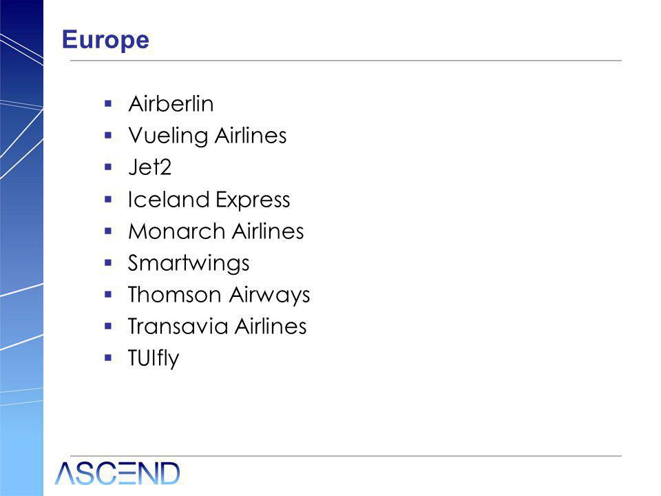 Europe Airberlin Vueling Airlines Jet2 Iceland Express Monarch Airlines Smartwings Thomson Airways Transavia Airlines TUIfly