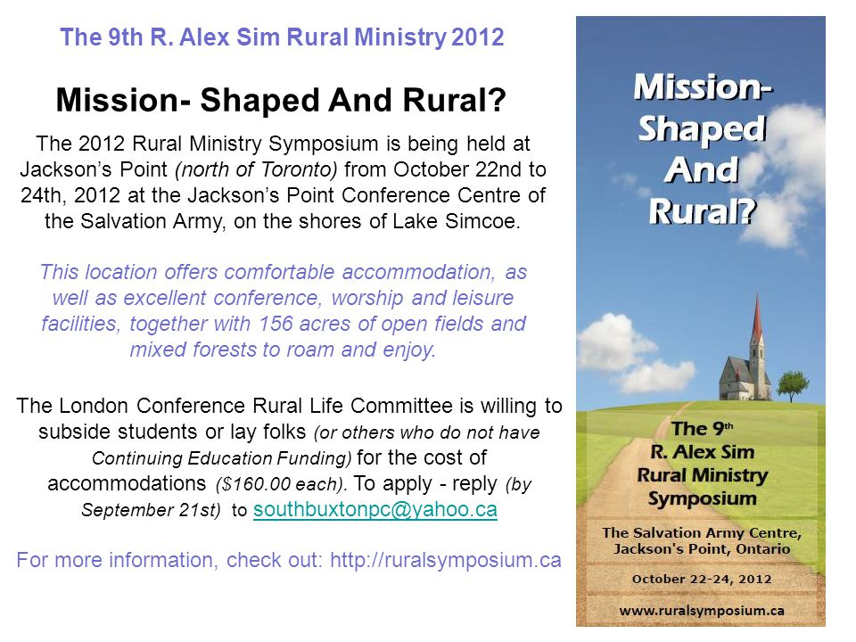 The 9th R. Alex Sim Rural Ministry 2012 Mission- Shaped And Rural.