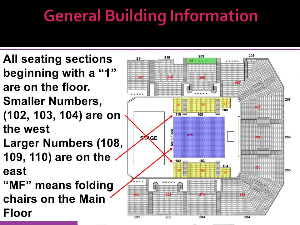 General Building Information All seating sections beginning with a 1 are on the floor.