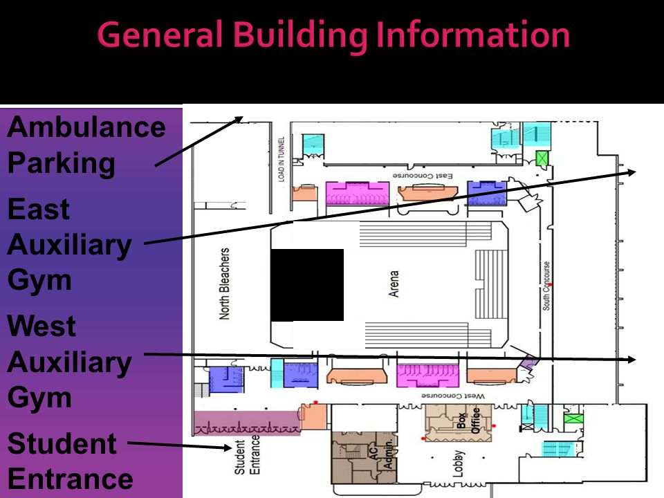 General Building Information Ambulance Parking East Auxiliary Gym West Auxiliary Gym Student Entrance