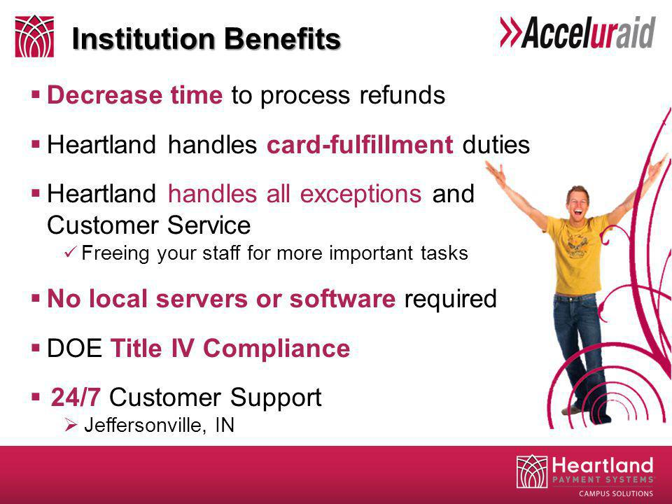 Decrease time to process refunds Heartland handles card-fulfillment duties Heartland handles all exceptions and Customer Service Freeing your staff fo