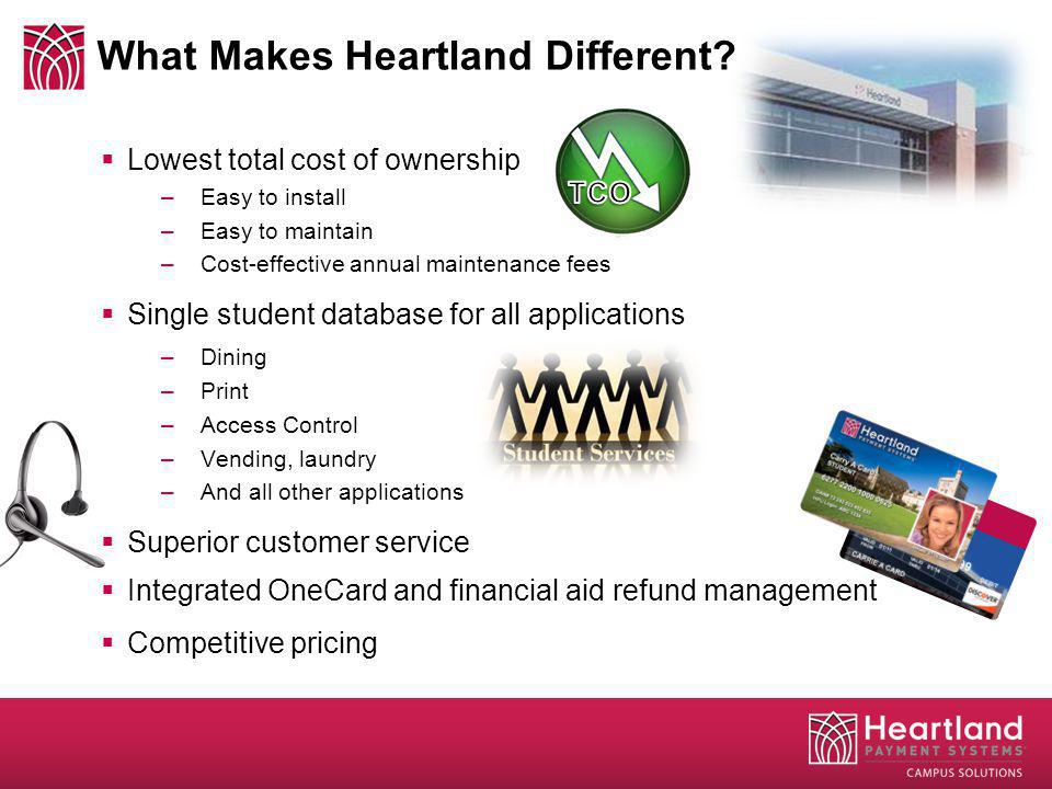 What Makes Heartland Different? Lowest total cost of ownership –Easy to install –Easy to maintain –Cost-effective annual maintenance fees Single stude