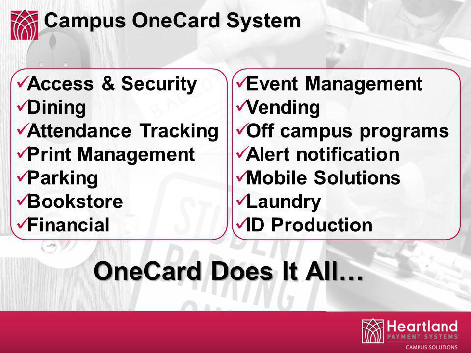Access & Security Dining Attendance Tracking Print Management Parking Bookstore Financial Event Management Vending Off campus programs Alert notification Mobile Solutions Laundry ID Production Campus OneCard System OneCard Does It All…
