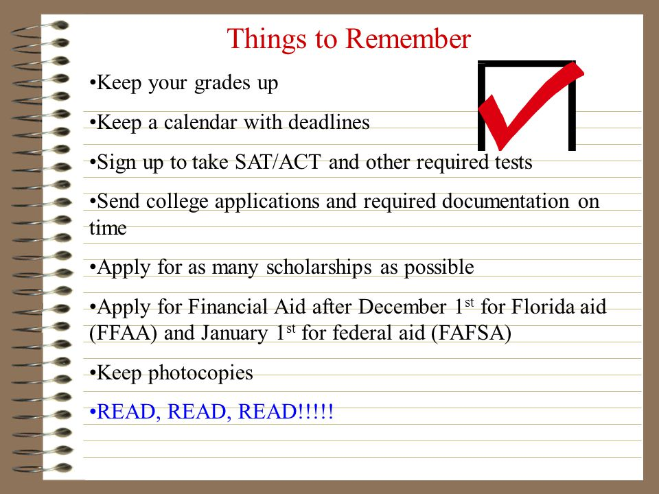 COLLEGE FAIRS PENDING…College Fair 2012 hosted by FIU: Keep listening to the morning announcements for details. This fair tends to take place in early