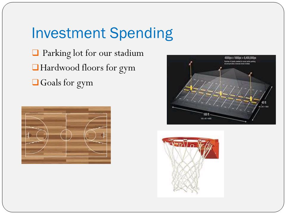 Investment Spending Parking lot for our stadium Hardwood floors for gym Goals for gym
