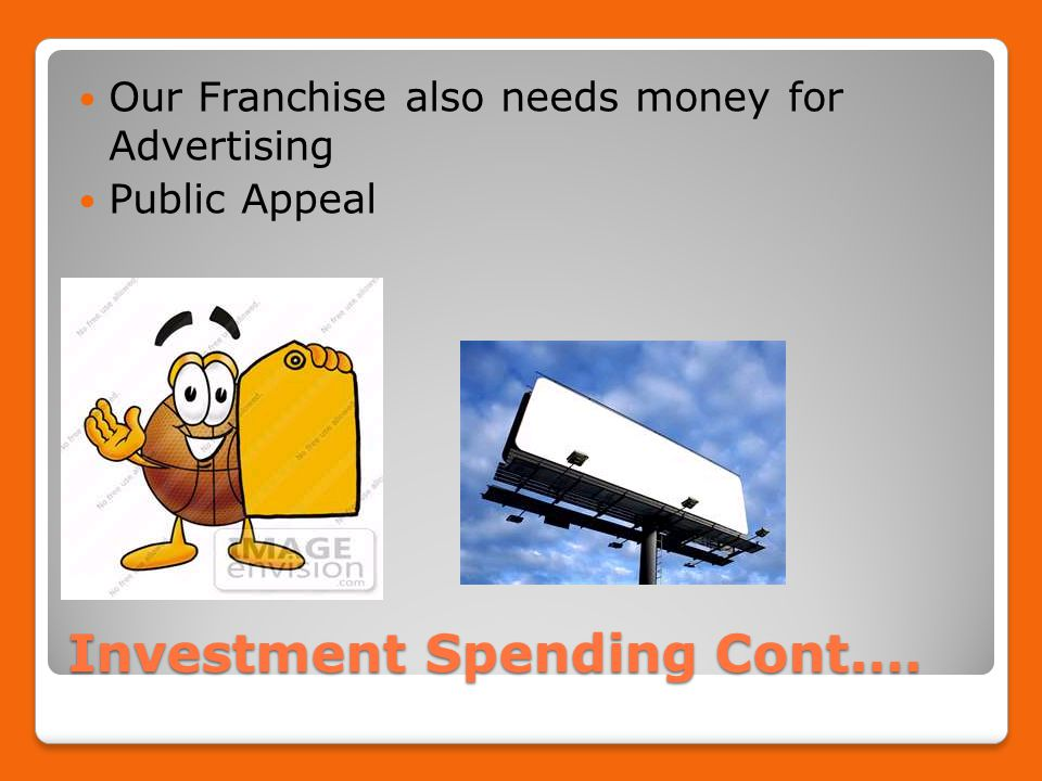 Investment Spending Cont.… Our Franchise also needs money for Advertising Public Appeal
