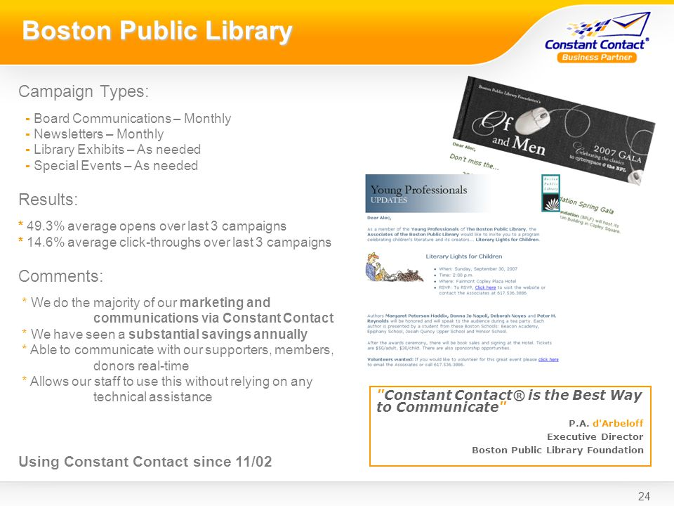 24 Boston Public Library Constant Contact® is the Best Way to Communicate P.A.