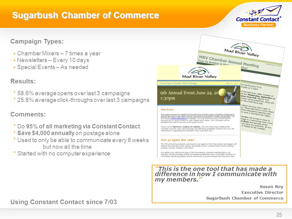 25 Sugarbush Chamber of Commerce This is the one tool that has made a difference in how I communicate with my members.
