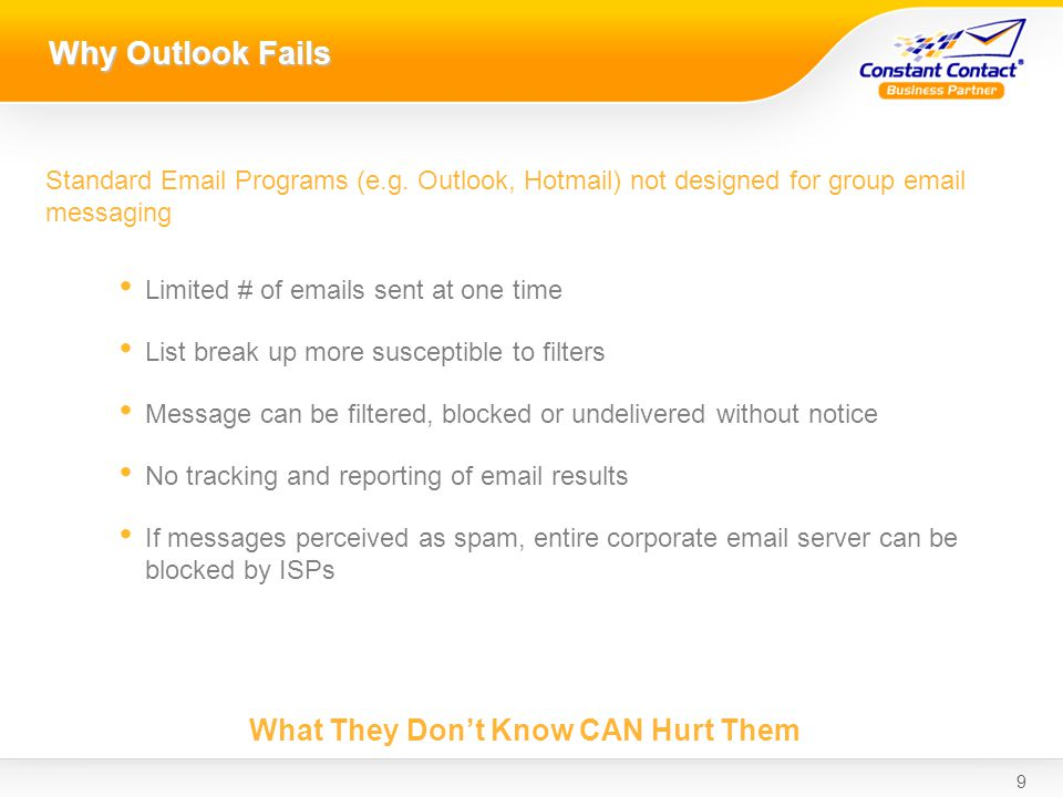 9 Why Outlook Fails Standard Email Programs (e.g.