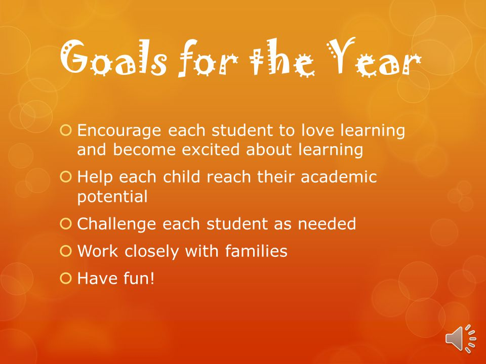 Goals for the Year Encourage each student to love learning and become excited about learning Help each child reach their academic potential Challenge each student as needed Work closely with families Have fun!