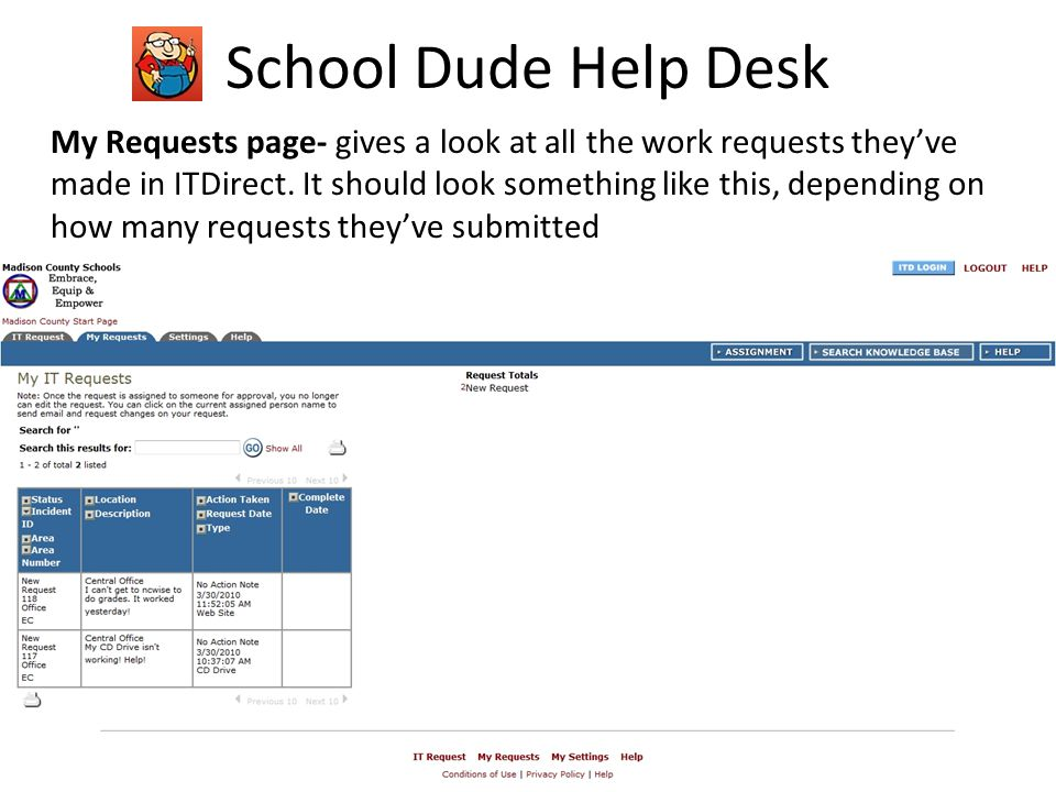 School Dude Help Desk My Requests page- gives a look at all the work requests theyve made in ITDirect.